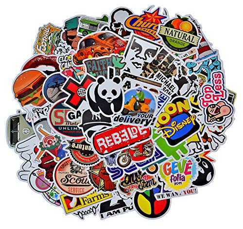100 Pieces Waterproof Vinyl Stickers for Personalize Laptop, Car, Helmet, Skateboard, Luggage Graffiti Decals (B - section)
