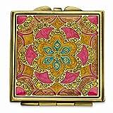Gold Tone Enameled Compact Mirror Woman Pill Box Lipstick Holder Fashion Jewelry