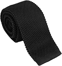 "Dan Smith Skinny Knit Tie For Men Vintage Smart Casual 2"" Mens Skinny Knit Neck Tie Solid Ties Various Colors"