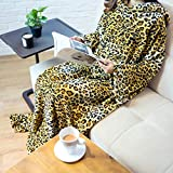 PAVILIA Premium Fleece Blanket with Sleeves for Adult, Women, Men | Warm, Cozy, Extra Soft, Microplush, Functional, Lightweight Wearable Throw (Cheetah, Kangaroo Pocket)
