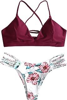 ZAFUL Women's Criss Cross Lace Up Braided Floral Bikini Set Two Piece Swimsuit