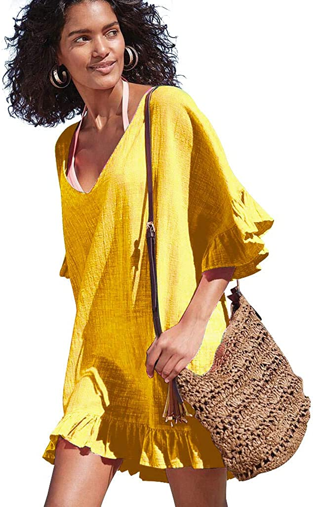 OMSJ Women Cover Ups Summer Beach Cute Tunic Dress