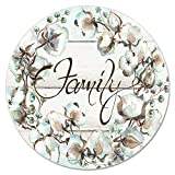 Counterart 13-Inch Glass Lazy Susan Turntable Serving Plate, Family-Cotton Floral