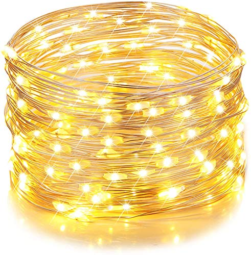 GVTECH Led String Lights 100 LEDs 33ft/10m (2 Pack) Decorative USB Powered Starry Fairy String Lights, Copper Wire Waterproof Light for Bedroom, Wedding Party Home Christmas Decoration(Warm White)