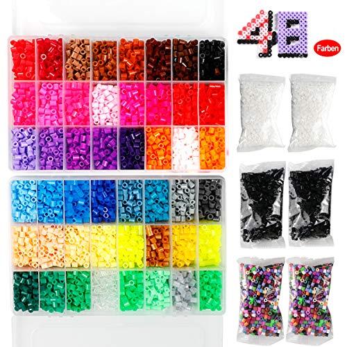 Bügelperlen Set , Steckperlen - 18000 Perlen,48 Farben mit 4 Bügelpapier,8 Basis ,2 Pinzette,3 Steckplatte,6 Cartoon-Vorlage und Sonstiges Zubehör