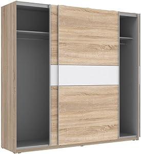 Schwebetürenschrank WINNER Kleiderschrank Schlafzimmerschrank (sonoma eiche + weiß)