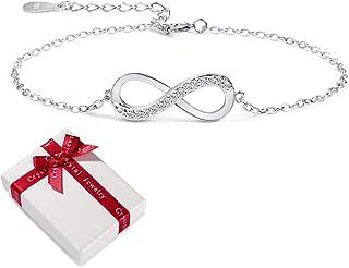 Bracelet pour Femme Bijoux en Argent Sterling zircone cubique 925 pour Femmes, Infinity Infinity Symbol Infinity Love Brac...