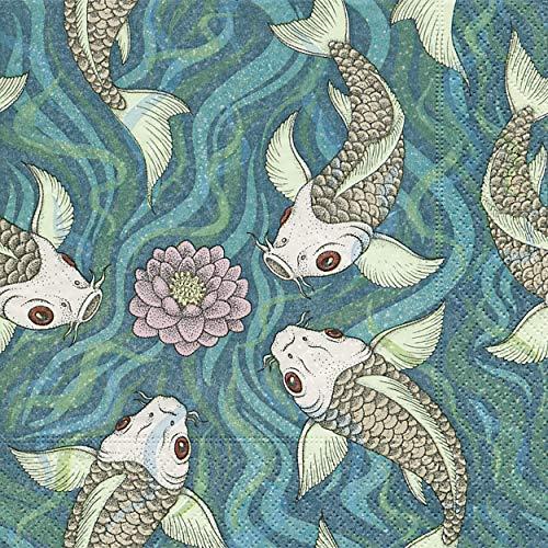 20 Servietten Koi im Wasser/Fisch / Japan/Asien 33x33cm