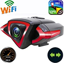 YOUANDMI 2400mAh Action Camera,IP5 Waterproof WiFi Front and Rear Bike Video Camera with Phone Holder,LED Turn Signal and Safety Warning Lights,Speedometer,GPS Tracking Device,Wireless Remote Control