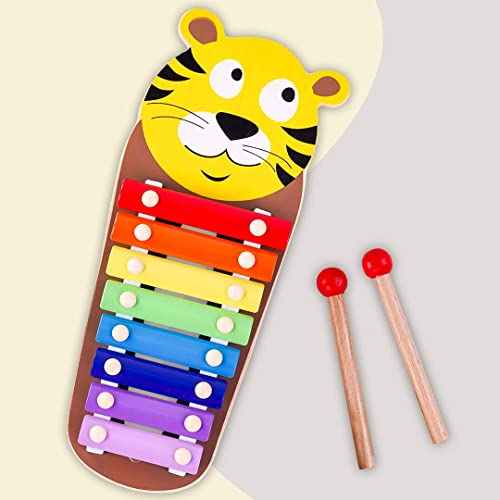 Baybee Wooden Xylophone Musical Toy for Kids with 8 Knots Non Toxic Animal Shaped Xylophone with Colors Musical Instrument Toy for Kids Toys Enhance Motor Skills Hand Eye Coordination Tiger