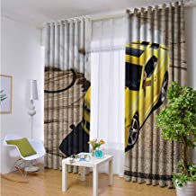 Indoor/Outdoor Single Panel print Window Curtain Manly,Yellow Sports Car Drifting Photography Smoke Fast Speed Competition Picture,Yellow Warm Taupe,W96
