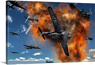GREATBIGCANVAS Gallery-Wrapped Canvas Aerial Combat Between American P-51 Mustang and German Focke-Wulf 190 by Mark Stevenson 48