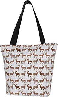 Lesif Einkaufstaschen, braunes Wiesenreh auf weißem Segeltuch, Schultertasche, wiederverwendbar, faltbar, Reisetasche, groß und langlebig, robuste Einkaufstaschen