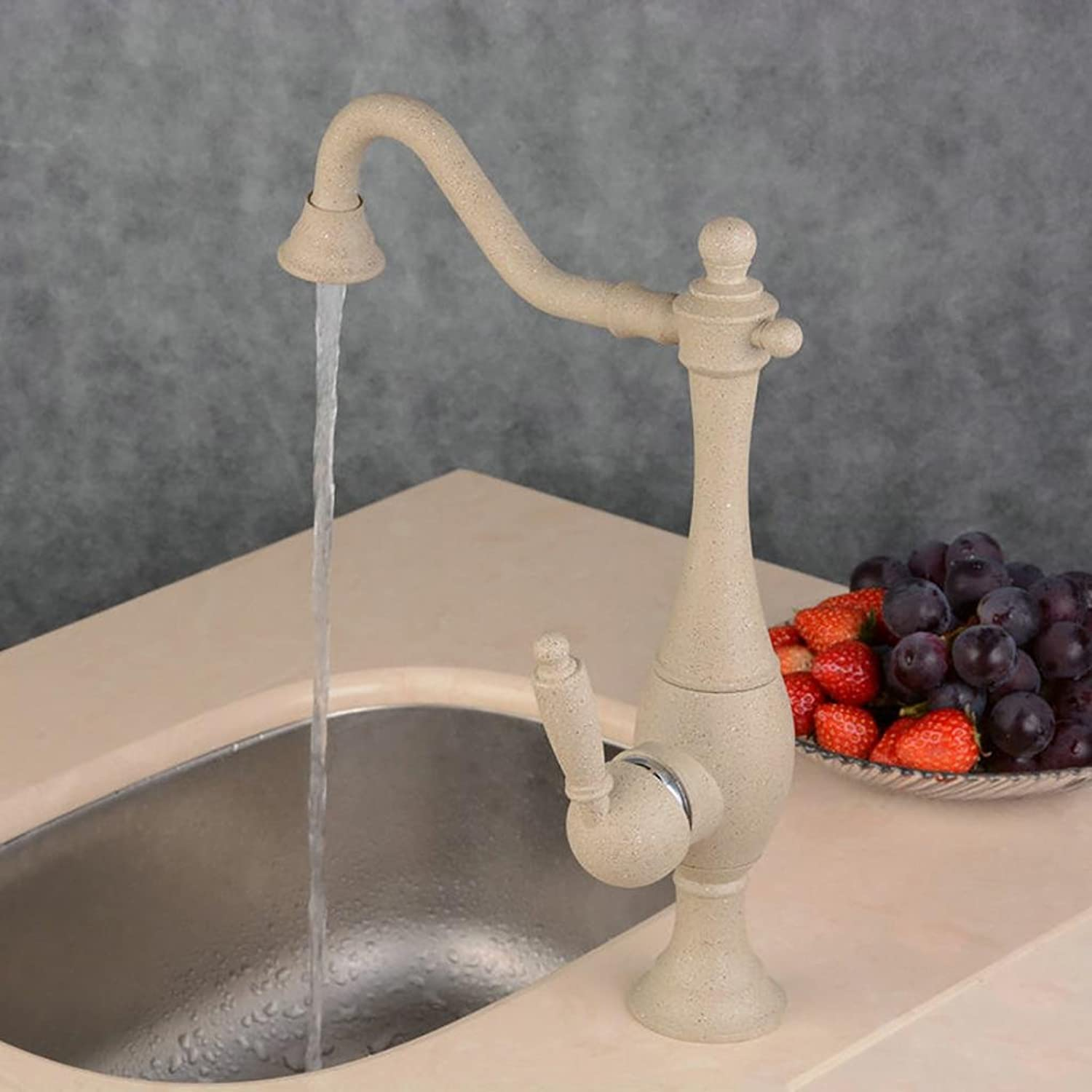 PLYY Traditional Kitchen Mixer tap Single Lever redary Waterfall Bathroom Sink Faucet with Hot and Cold