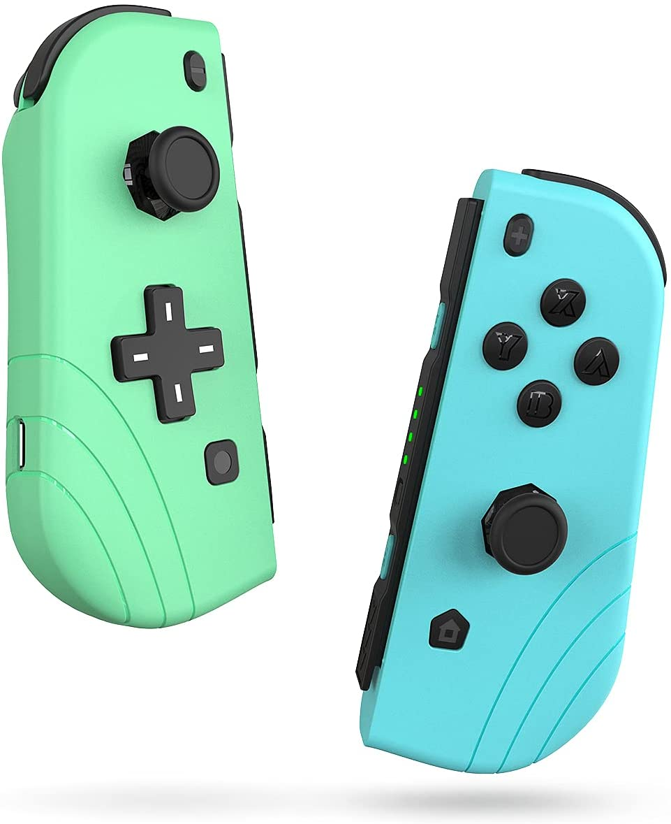 Switch Controller EZdenK Joycon Controllers(L/R) Bluetooth 5.0 Support Wake-up Function 3D Gamepad Joystick with Dual Vibration and 6-Axis Gyro for N-Switch/Switch Lite with Wrist Strap Grip Stand