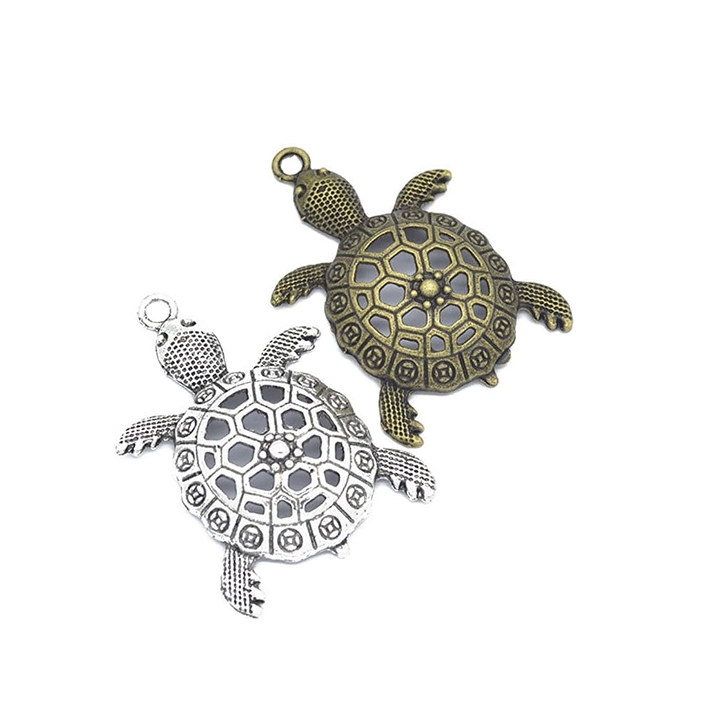 10pcs Antique Silver Bronze Tortoise Turtle Sea Charms Pendant Jewelry Findings for Jewelry Making Necklace Bracelet DIY 55x38mm(10PCS)