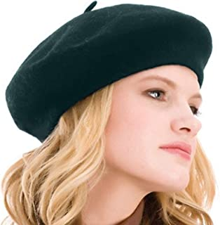 b3a6cc31 Kimming Womens Beret 100% Wool French Beret Solid Color Beanie Cap Hat