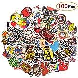 Etitulaire Lot Autocollant 100 PCS,Graffiti Autocollant Aléatoire en Vinyle Lot Stickers pour Voiture, Moto,Mac,Enfant,Ordinateur Portable, Vélo,Valise,Auto,Skate,Skateboard,Guitare,Casque Moto