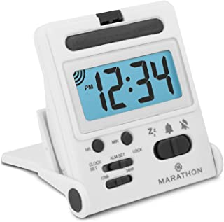 Marathon Basics CL030010WH Travel Alarm Clock, Easy to use, Easy to Set - Battery Included - Color - White