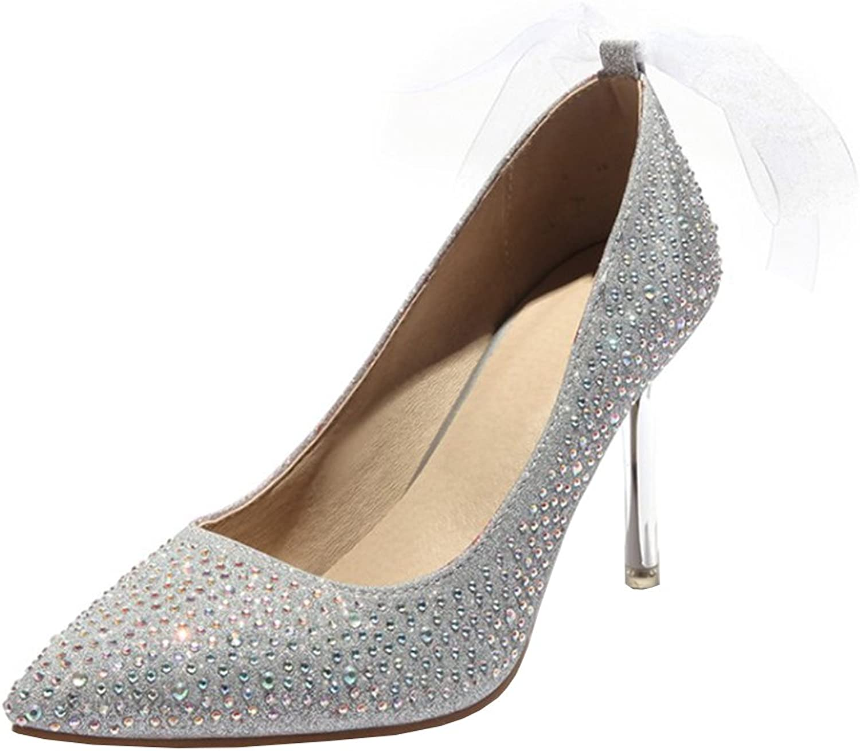 Agodor Womens High Heels Wedding Glitter Pumps Elegant Pointed Toe Stiletto shoes