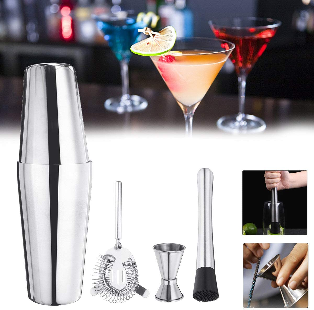 Steel Cocktail Shaker Max 65% OFF Mixer Drink Bar Bartender Martini In a popularity Tools Se
