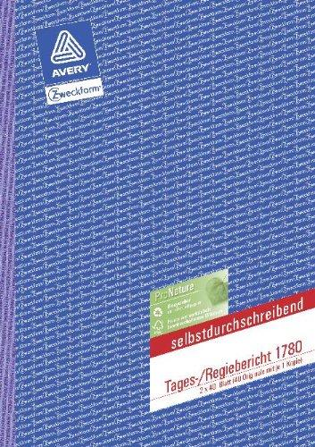 Avery Zweckform© 1780 Tages-/Regiebericht, DIN A4, selbstdurchschreibend, 2 x 40 Blatt, weiá, gelb