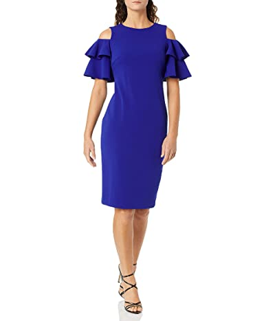 Calvin Klein Cold Shoulder Sheath With Tiered Sleeve Dress