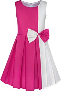 AiWoo dress Color Block Contrast Bow Tie Everyday Party 2019 Summer Princess Wedding Dresses Clothes Size 4-14