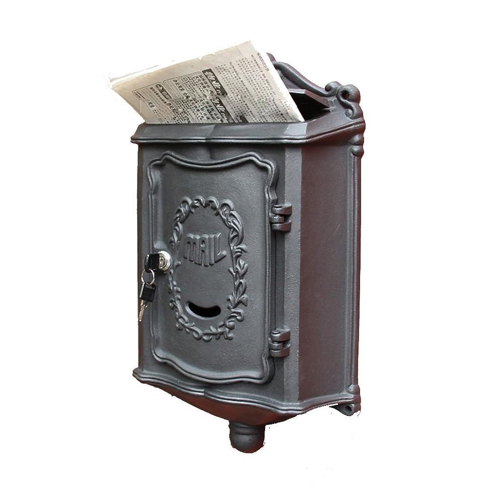 組み込む店員薄いですHTDZDX ヴィンテージ屋外ロック可能なポストボックス大きなメールボックスレターボックスのメール壁のマウント (Color : Black)