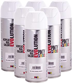 Fast Dry, Low Odor, Low VOC - Pintyplus Evolution Acrylic Spray Paint - 400 mL cans - Case of 6 (RAL 9003, Signal White)