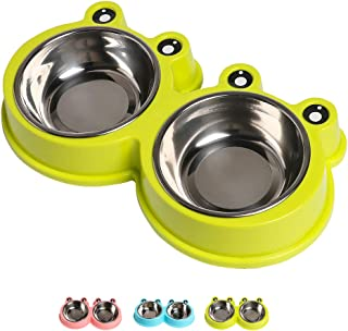 Double Dog Cat Bowls Premium Stainless Steel Pet Bowls with No-Slip Stainless Steel Cute Modeling Pet Food Water for Feede...