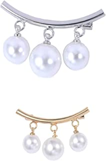 2 Pieces Faux Pearl Brooch Pins Sweater Shawl Clips Vintage Shirts Dresses Cardigan Collar Safety Pins for Women Girls Hom...