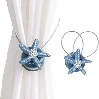 ZILucky 2 Pieces Starfish Magnetic Curtain Tiebacks Rope Drape Tie Back Band Drapery Holdbacks Room Décor (Blue)