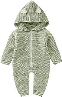VICROAD Baby Strampler mit Kapuze für Neugeborene Mädchen Jungen Einteiler Warm Pullover Reißverschluss Overall