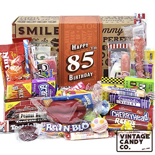 VINTAGE CANDY CO. 85TH BIRTHDAY RETRO CANDY GIFT BOX - 1935 Decade Nostalgic Childhood Candies - Fun Gag Gift Basket for Milestone Eighty Five Birthday - PERFECT For Man Or Woman Turning 85 Years Old