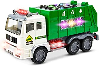 Toy Garbage Truck for Kids with 4D Lights and Sounds - Battery Operated Automatic Bump & Go Car - Sanitation Truck Stickers