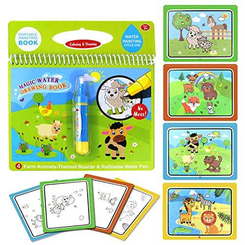 lzndeal Peinture à l'eau réutilisable Livre à colorier Planche à Dessin Magique Doodle pour Enfants Jouet pour Enfants
