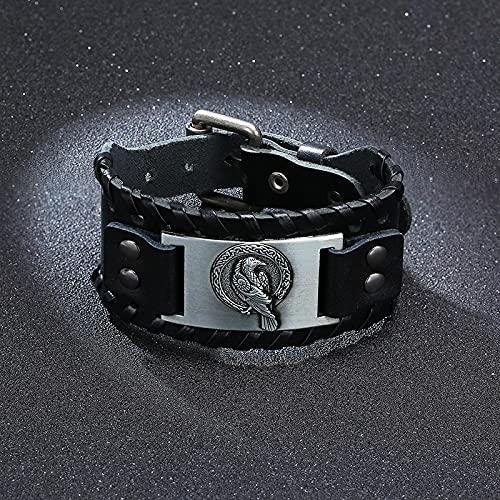 ShSnnwrl Estilo clásico Pulsera Pulseras Gruesas para Hombres Rock Retro Viking Wrap Wristband Regalos para Joyería De Navidad Bl