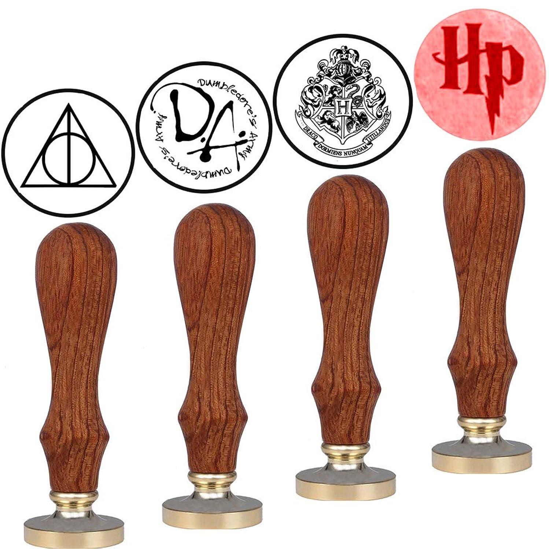 VSECUON Magic School Badge 4pcs Wax Seal Stamp DIY Retro Stamp Maker Kit Great Gift for HP Fans Birthday Christmas Hogwarts Themed Party(New Design 4pcs#2)