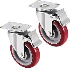 Casters Zwenkwielen voor wielen, 4 stuks, 4,57 inch, PU 360 graden draaibaar, met rem, capaciteit 330 lB