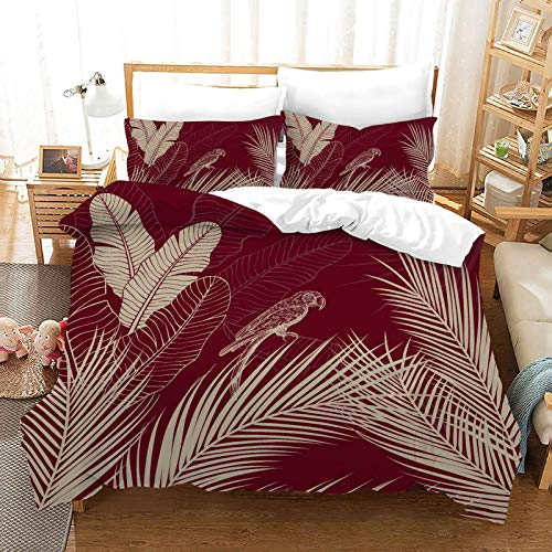 QXbecky Leaves and deciduous Plants Bedding Soft Microfiber Quilt Cover Pillowcase 3 Piece Set Hidden Zipper Double Single