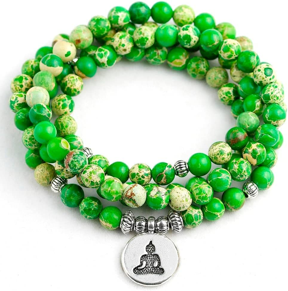 ANSP88 - Super special price A surprise price is realized Natural Stone Beads Prayer Green Sediment 108 Sea