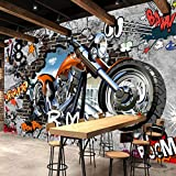 Wandtuch tapete motorrad Fototapete straße graffiti kunst mural wohnzimmer esszimmer wand dekoration wandbild