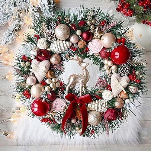 Fawn Christmas Wreath, Weihnachtskranz Tür außen Deko, Künstlicher Weihnachtskranz für die Tür, Weihnachten Kranz Dekokranz Hängende Weihnachtskugelnkranz Fenster Dekoration Weihnachts Zubehör (A)