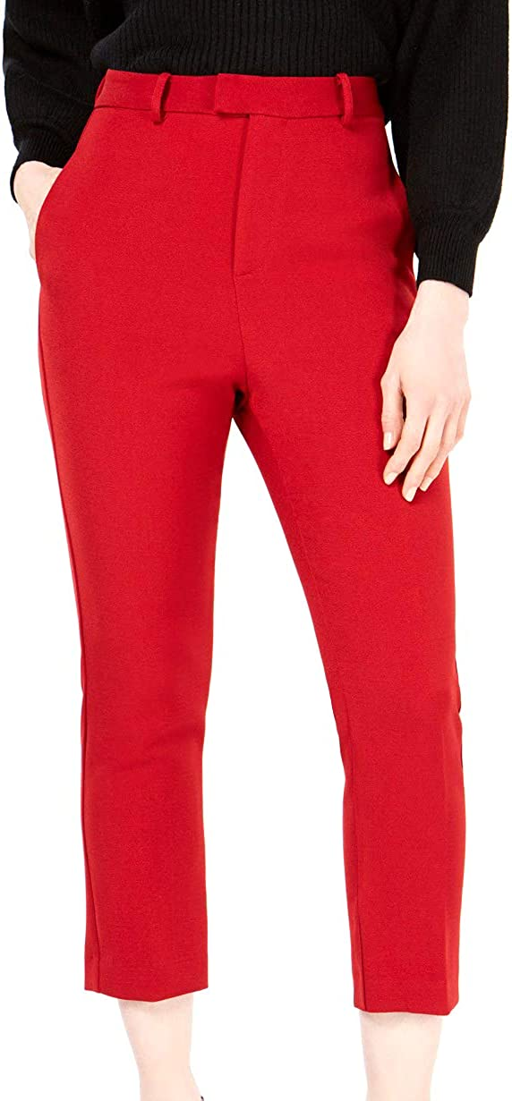 Line & Dot Womens Solid High Rise Casual Cropped Pants