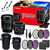 Canon Portrait & Travel 2 Lens Kit with 50mm f/1.8 and 10-18mm Lenses for Portrait and Travel + 3 Piece UV Filter Kits for Both Lenses + Accessories Bundle
