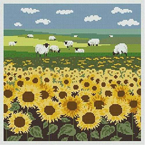 Bordado Kit de punto de cruz para Principiante Arte del prado de ovejas Imágenes DIY Bordado para adulto niños la Regalo (11CT Tela)decoración del hogar 40x50cm