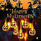 VZATT Halloween Luci Stringa, Luci Zucca Halloween Luminosa Luci Decorative, Alimentazione a Batteria e USB, 3M 20 LED Zucca Luci della Stringa per Casa Cortili Festa Giardino Halloween Decorazione