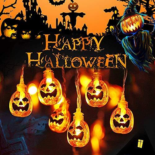 Halloween Luci Stringa, Luci Halloween Zucca, 3M/20 LED Catene Luminose Halloween Luci Decorative, IP65 Impermeabile Zucca Luci Della Stringa per Decorazione Casa Cortili Festa Giardino Halloween