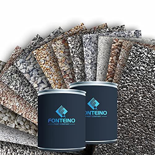 Moquette de pierre - Granulat de marbre + liant époxy - Revetement de sol pour Terrasse, bords de piscine - Noir 1-4mm - 25KG
